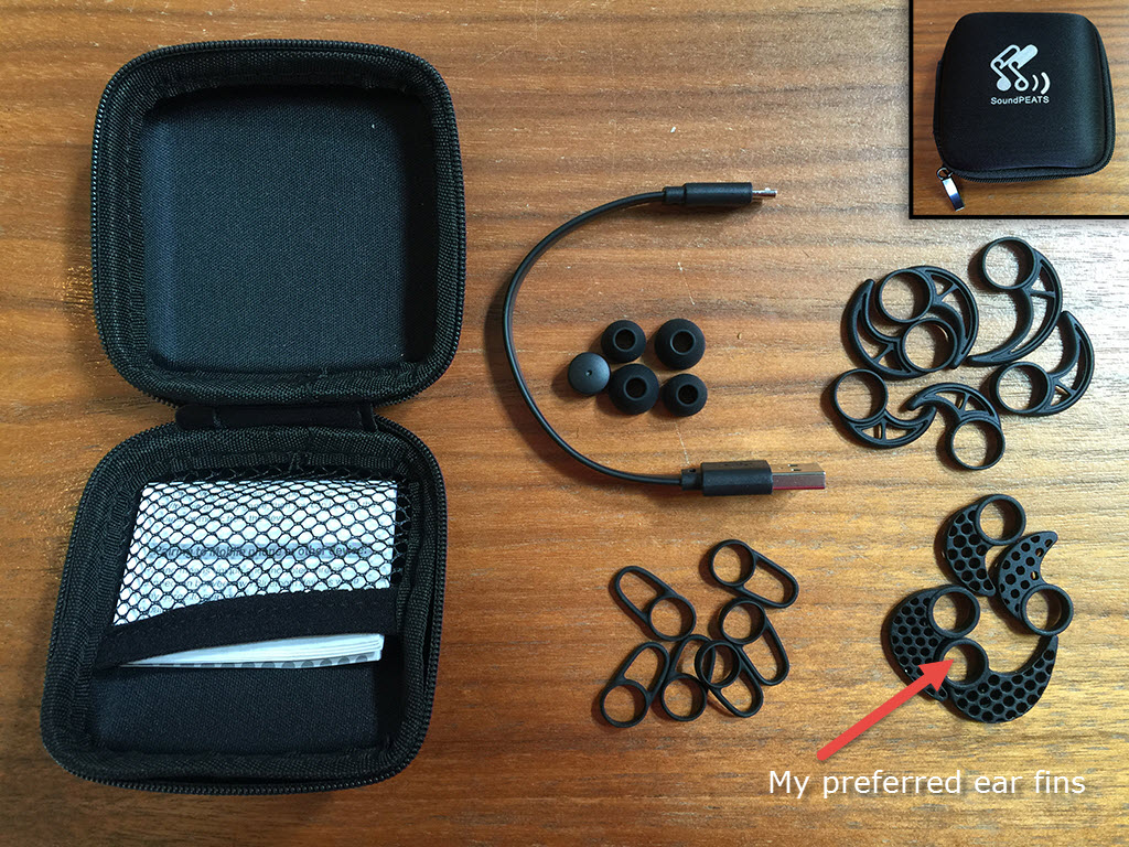 Case and accessories and my preferred ear fins