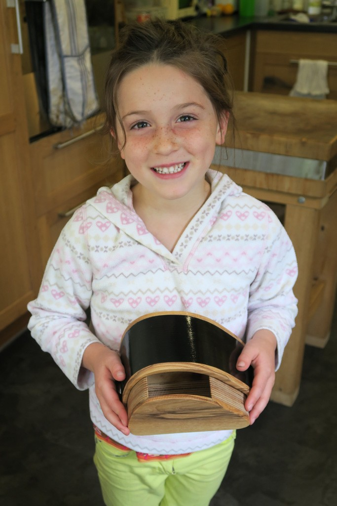 My daughter with finished box