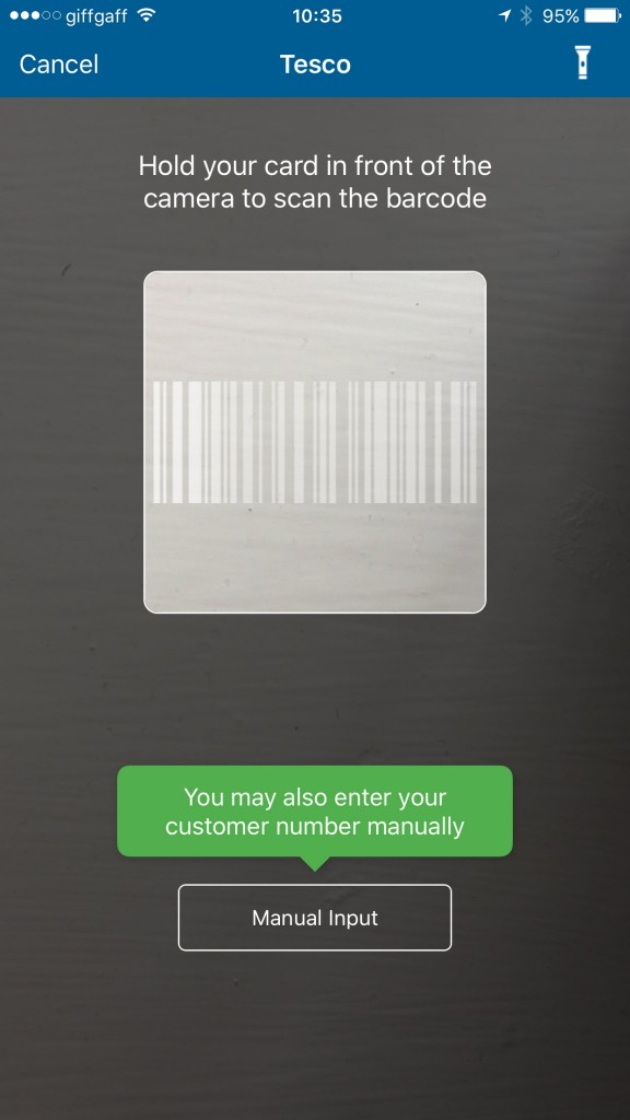 Scanning in your loyalty card's barcode using the smartphone's camera