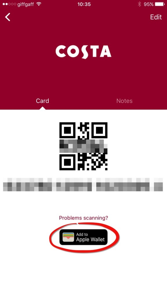 Add Costa card to Apple Wallet