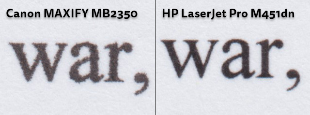 Text quality comparison. 1200dpi scan. 100% crop. HP LaserJet M451dn, Canon MAXIFY MB2350
