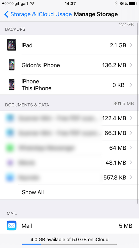Select iPhone backup
