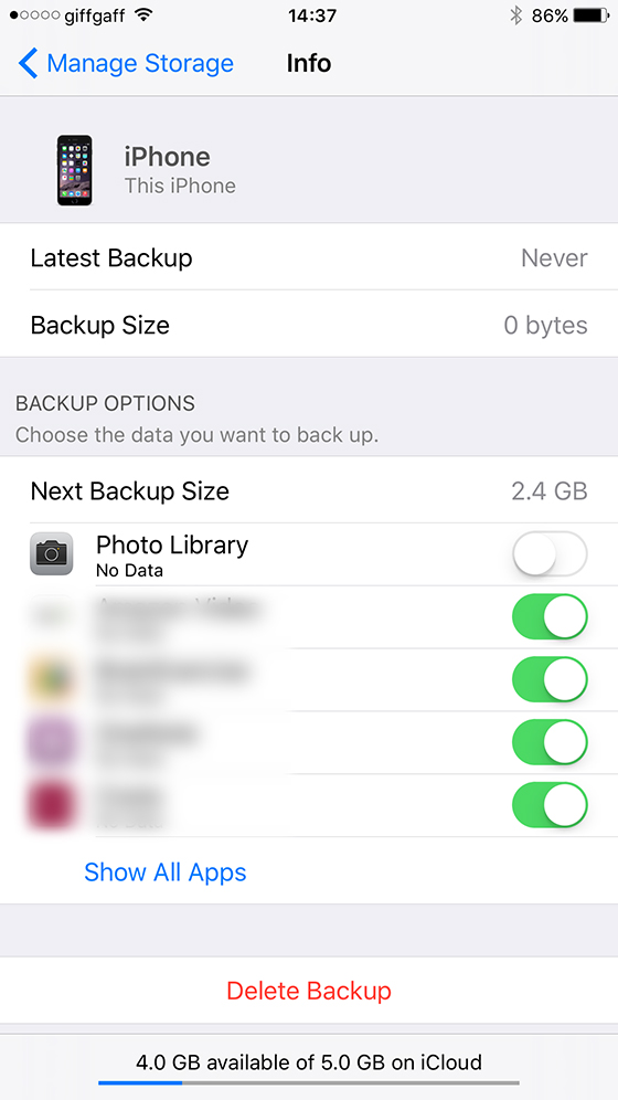 Turn off Photo backup
