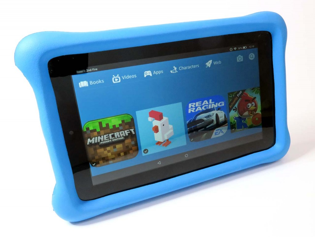 Kindle Fire with bumper case. Child's account.