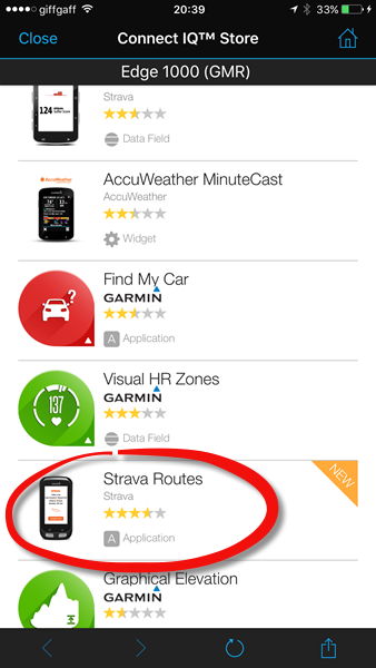 Open the Connect IQ store to download Strava Routes