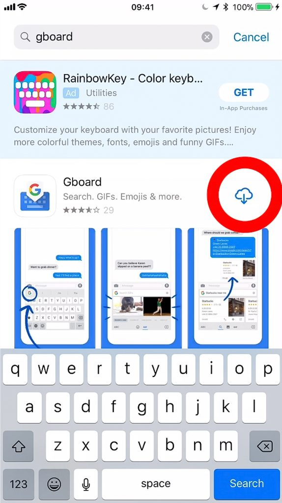 Install Gboard from the App store