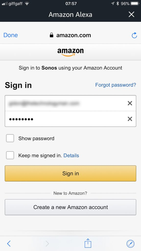Sign into your Amazon account
