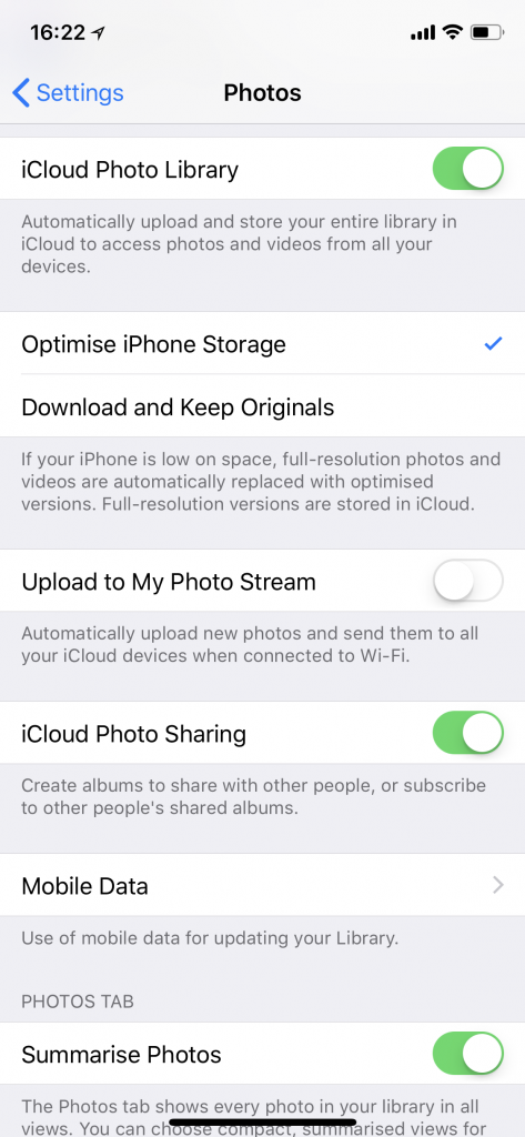 Enabling iCloud Photo Library and selecting Optimise iPhone Storage