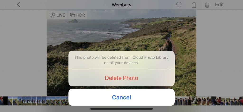 Deleting a photo from your camera roll deletes it everywhere