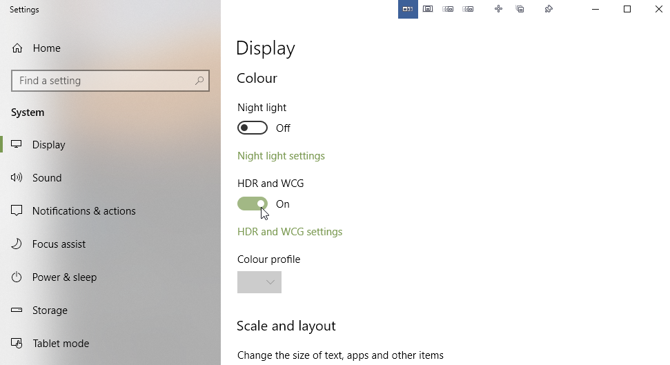 Turning HDR mode on in Windows