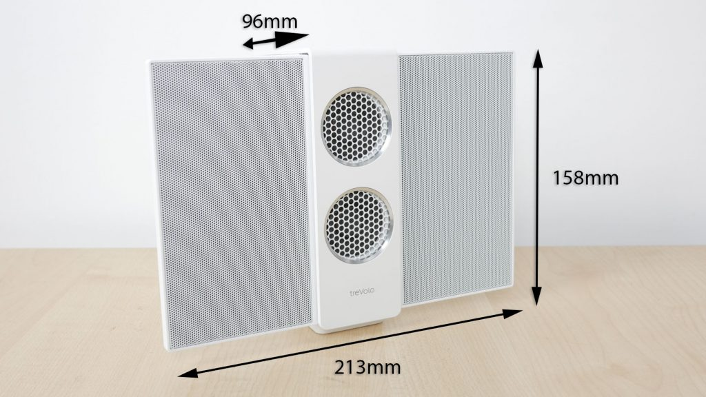 Speaker dimensions with wings open